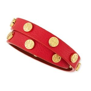 Tory Burch Double Wrap Red Leather Logo Bracelet